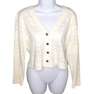Vintage Cream Button Front Long Sleeve Top Blouse